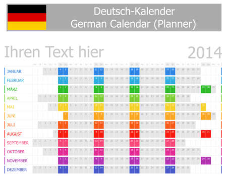2014 German Planner Calendar with Horizontal Months Stock Photo