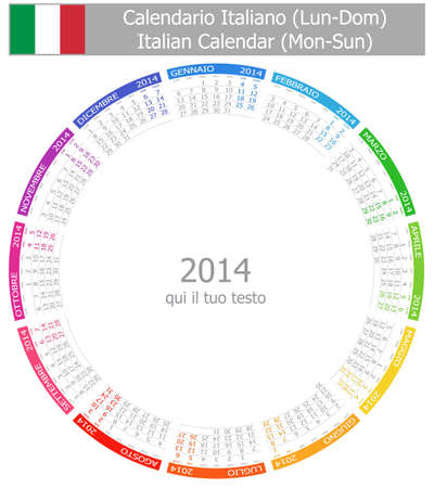 2014 Italian Circle Calendar Mon-Sun Stock Photo - 17180954