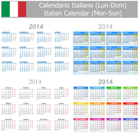 2014 Italian Mix Calendar Mon-Sun Stock Photo
