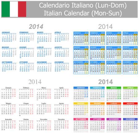 arial: 2014 Italian Mix Calendar Mon-Sun Stock Photo