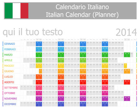 2014 Italian Planner Calendar with Horizontal Months Stock Photo