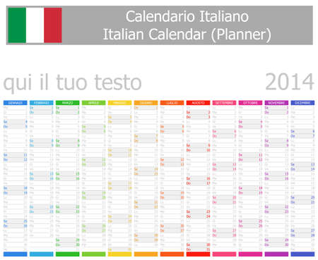 2014 Italian Planner Calendar with Vertical Months Stock Photo - 17180944