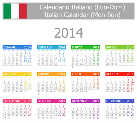 2014 Italian Type-1 Calendar Mon-Sun photo