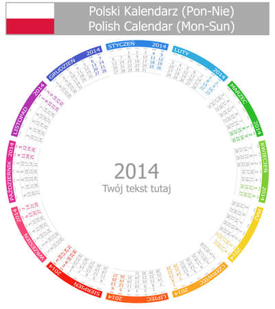 2014 Polish Circle Calendar Mon-Sun Stock Photo - 17180953