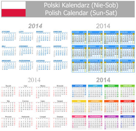 2014 Polish Mix Calendar Sun-Sat Stock Photo - 17180987