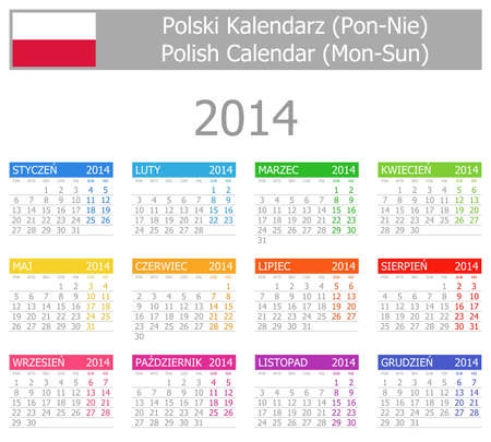 2014 Polish Type-1 Calendar Mon-Sun Stock Photo
