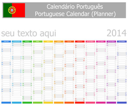 portugese: 2014 Portugese Planner Calendar Vertical Months Stock Photo