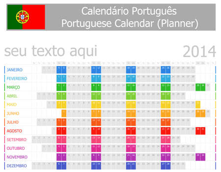portugese: 2014 Portugese Planner Calendar with Horizontal Months