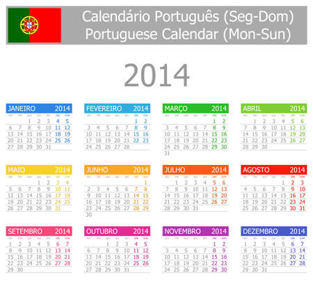 2014 Portuguese Type-1 Calendar Mon-Sun Stock Photo - 17180960