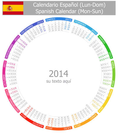 2014 Spanish Circle Calendar Mon-Sun