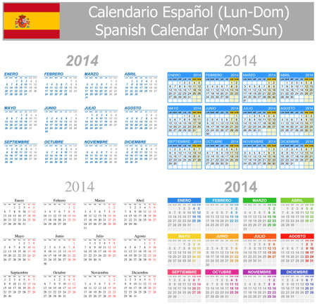 2014 Spanish Mix Calendar Mon-Sun Stock Photo - 17180988