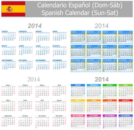 2014 Spanish Mix Calendar Sun-Sat photo