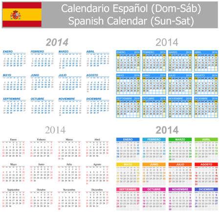 arial: 2014 Spanish Mix Calendar Sun-Sat
