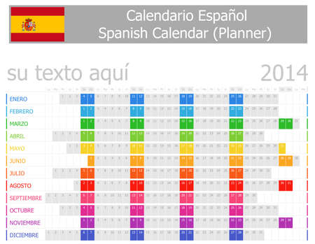2014 Spanish Planner Calendar with Horizontal Months Stock Photo