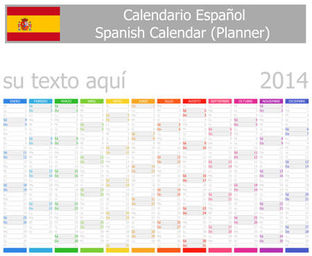 2014 Spanish Planner Calendar with Vertical Months Stock Photo