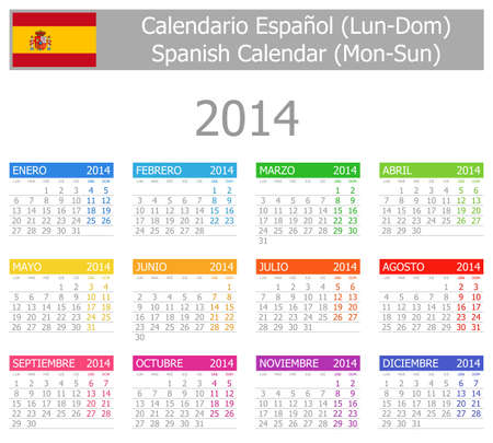 2014 Spanish Type-1 Calendar Mon-Sun Stock Photo - 17180950