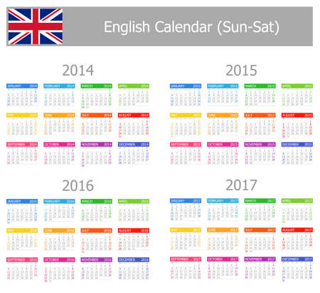 2014-2017 Type-1 English Calendar Sun-Sat photo