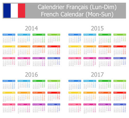 2014-2017 Type-1 French Calendar Mon-Sun Stock Photo - 17180970