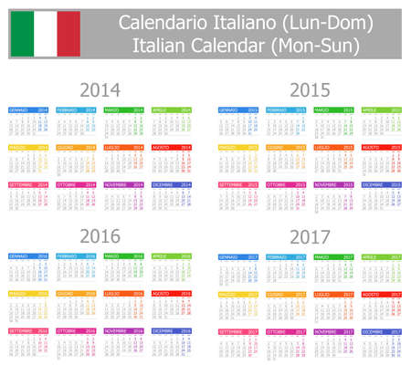 2014-2017 Type-1 Italian Calendar Mon-Sun Stock Photo - 17180976