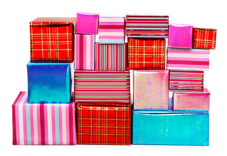 A selection of colorful presents on a white background Stock Photo