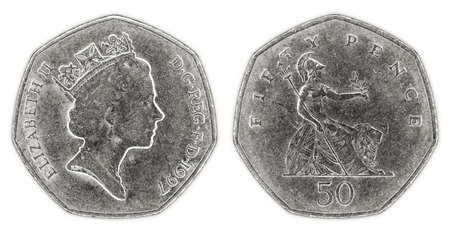 pence: A well worn fifty pence coin with Queen Elizabeth II on a white background