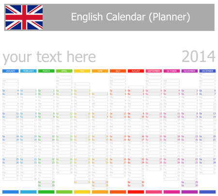 2014 English Planner-2 Calendar with Vertical Months on white background Illustration