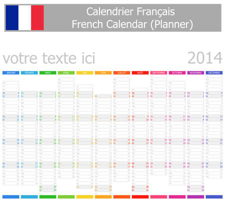 2014 French Planner-2 Calendar with Vertical Months on white background