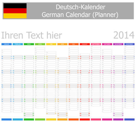 2014 German Planner-2 Calendar with Vertical Months on white background Vector