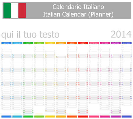 2014 Italian Planner-2 Calendar with Vertical Months on white background