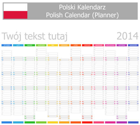 2014 Polish Planner-2 Calendar with Vertical Months on white background