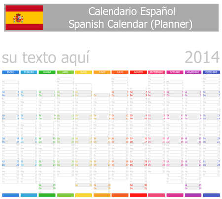 2014 Spanish Planner-2 Calendar with Vertical Months on white background
