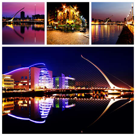 Composition of Dublin City Center at Night
