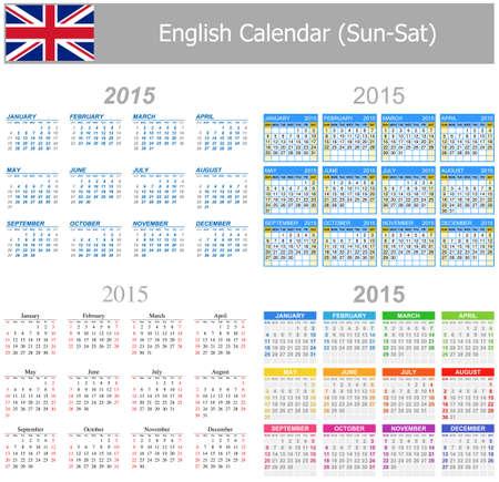 arial: 2015 English Mix Calendar Sun-Sat on white background Illustration