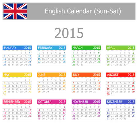 2015 English Type-1 Calendar Sun-Sat on white background