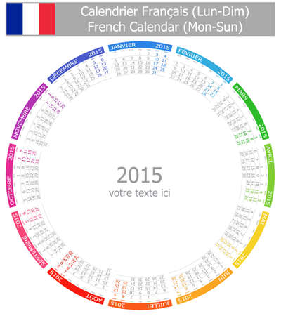2015 French Circle Calendar Mon-Sun on white background
