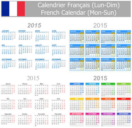 calendrier: 2015 French Mix Calendar Mon-Sun on white background
