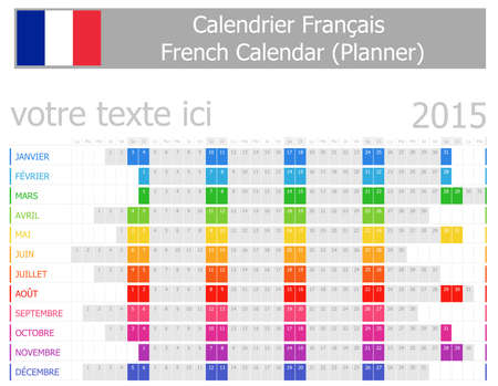 calendrier: 2015 French Planner Calendar with Horizontal Months on white background