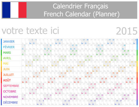 2015 French Planner-2 Calendar with Horizontal Months on white background
