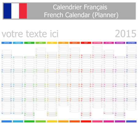 2015 French Planner-2 Calendar with Vertical Months on white background Vector
