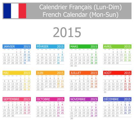 frans: 2015 Frans Type-1 Kalender ma-zo op een witte achtergrond