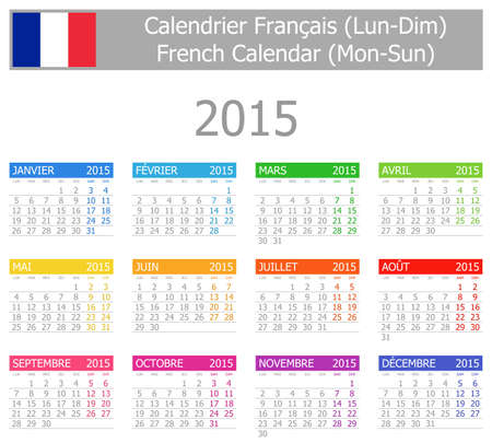 2015 French Type-1 Calendar Mon-Sun on white background Vector