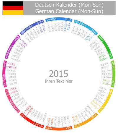 starting a business: 2015 German Circle Calendar Mon-Sun on white background