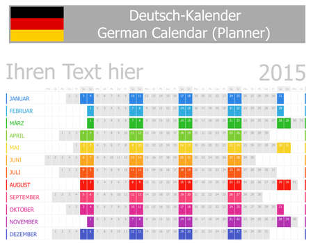2015 German Planner Calendar with Horizontal Months on white background Vector
