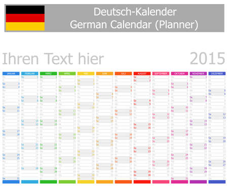 2015 German Planner Calendar with Vertical Months on white background Vector