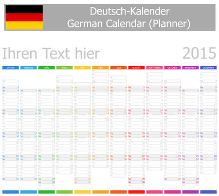 2015 German Planner-2 Calendar with Vertical Months on white background Vector