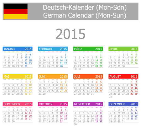 2015 German Type-1 Calendario lunes a domingo en el fondo blanco