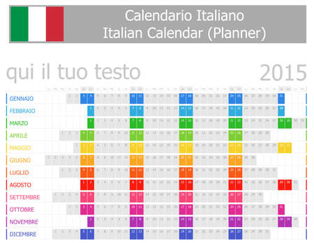 2015 Italian Planner Calendar with Horizontal Months on white background Vector