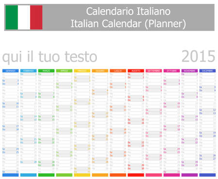 2015 Italian Planner Calendar with Vertical Months on white background