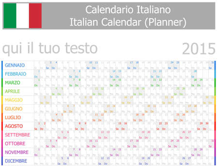 2015 Italian Planner-2 Calendar with Horizontal Months on white background