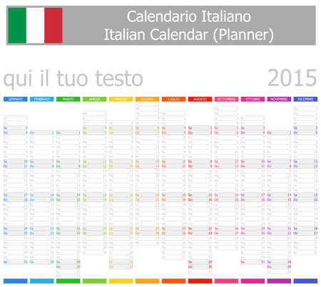 2015 Italian Planner-2 Calendar with Vertical Months on white background